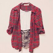 shirt,red,plaid,shorts,flannel shirt,plaid shirt,jacket,cute,tartan,summer,ahh,pretty,black,white,blouse,pants,tank top,red checkered shirt,red flannel shirt,red flannel,white tank top,white blouse,denim shorts,ripped shorts,cross,blonde hair,orange shirt,flannel,flannel sweatshirt,t-shirt,nirvana,checkered,checkered shirt,burgundy,checked shirt