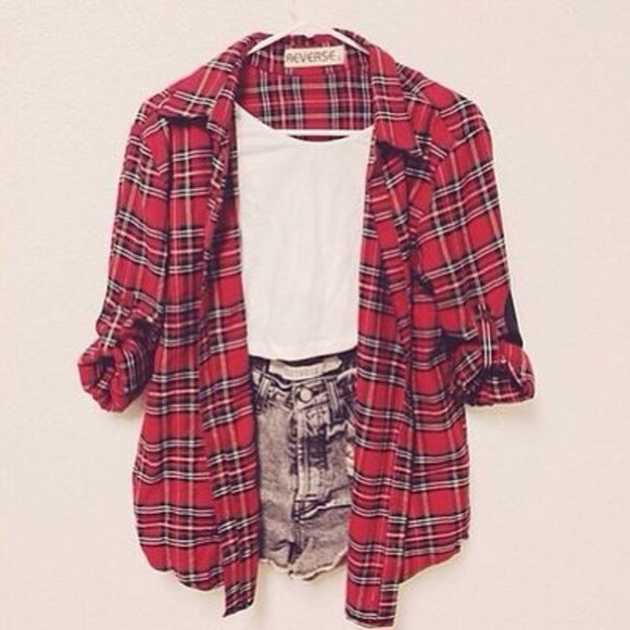shirt plaid shirt flannel shirt shorts red plaid jacket cute tartan summer ahh pretty