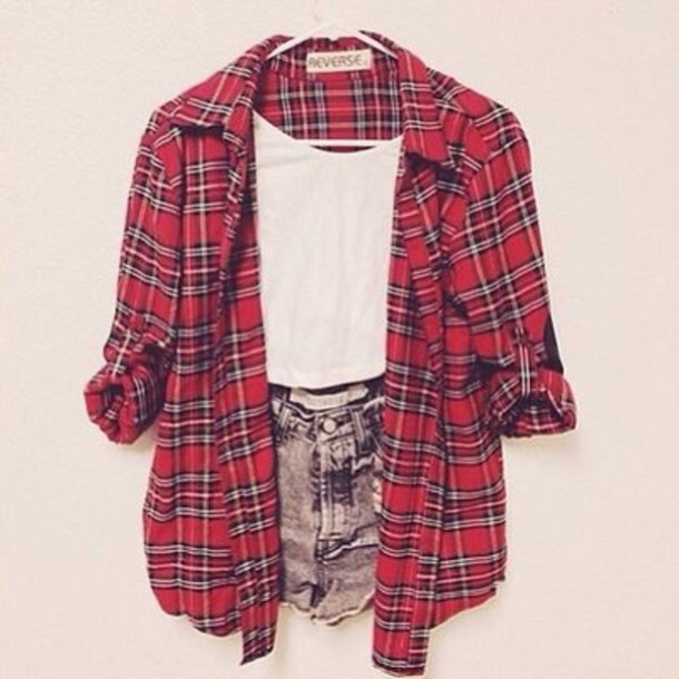 Shirt: red, plaid, shorts, flannel shirt, plaid shirt, jacket ...