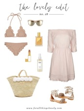 for all things lovely,blogger,swimwear,sunglasses,make-up,dress,bag,shoes,pink bikini,pink dress,off the shoulder,off the shoulder dress,beach bag,lace up flats,lace up,flats,long sleeve dress,beach dress,summer dress,summer outifts,lipstick