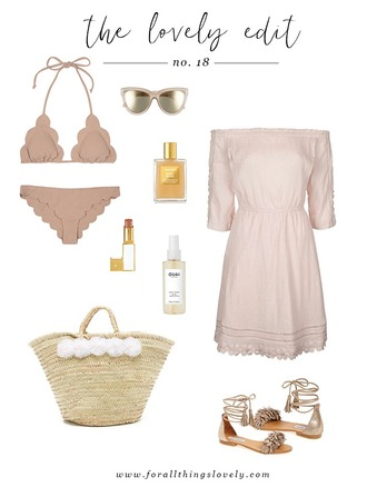for all things lovely blogger swimwear sunglasses make-up dress bag shoes pink bikini pink dress off the shoulder off the shoulder dress beach bag lace up flats lace up flats long sleeve dress beach dress summer dress summer outifts lipstick