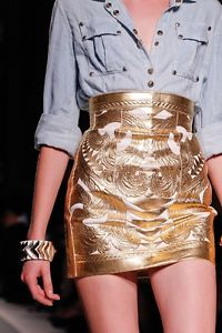 400 Balmain Gold Leather Skirt Fr 36 US 4 s XS as Seen on Runway |