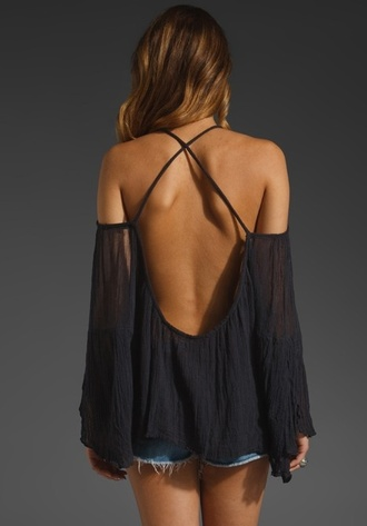 blouse off the shoulder open back flowy cute crossed back sheer shirt navy beautiful feminine summer long sleeves see through shirt backless black bareback tank top top sexy open back shirts backless top black top denim shorts denim shorts summer top summer outfits summer shorts charcoal cross back grey