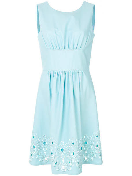 BOUTIQUE MOSCHINO dress embroidered dress embroidered women floral cotton blue