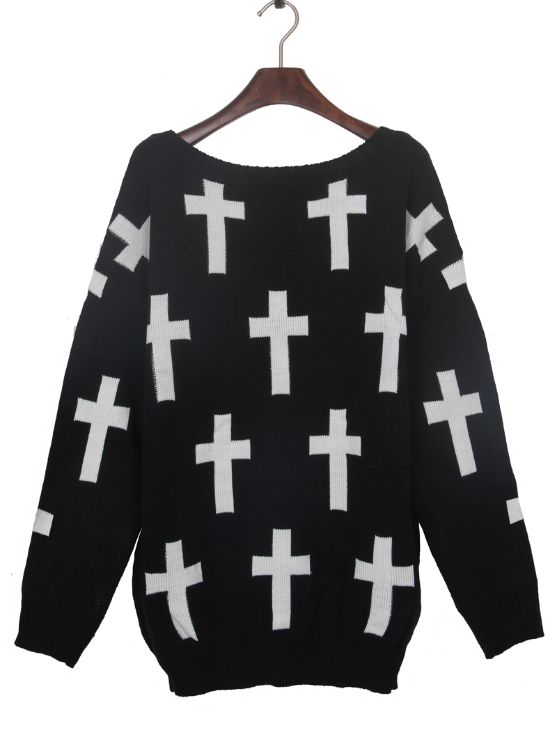 Black Round Neck and White Cross Pattern Jumper Sweater - Sheinside.com