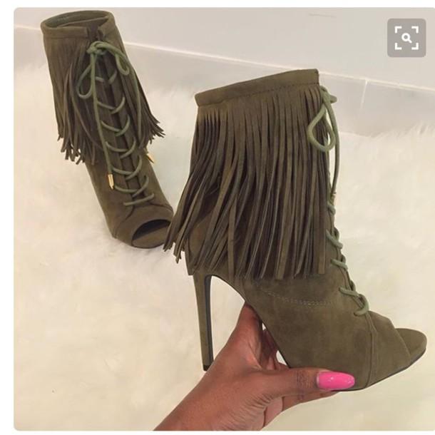 Shoes Heels Olive Green Suede Boots Fringe Shoes High Heels