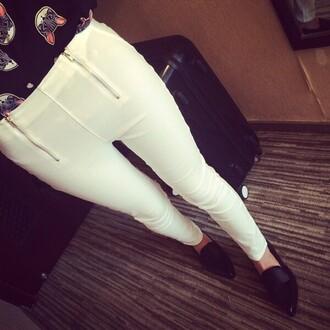pants white white pants zip ziper cats top blouse