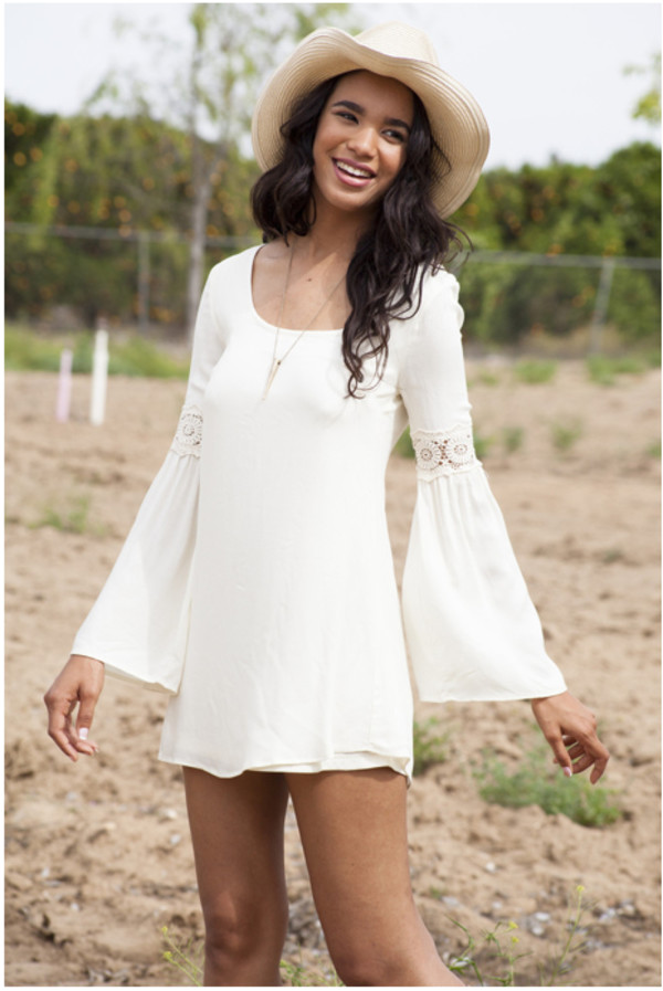 dress bellsleeve dress white dress dress white mini dress coachella dress bell sleeves bell sleeved dress