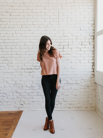 un-fancy blogger top jeans shoes jewels ankle boots skinny pants nude top spring outfits