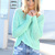 Green Sweater - Mint Long Sleeve Hi-Lo Knit | UsTrendy