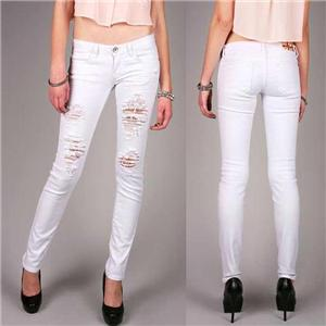 Machine Jeans Ripped Distressed Destroyed Women White Skinny Slim ...