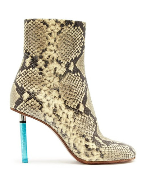 Vetements - Python Effect Lighter Heel Leather Ankle Boots - Womens - Python