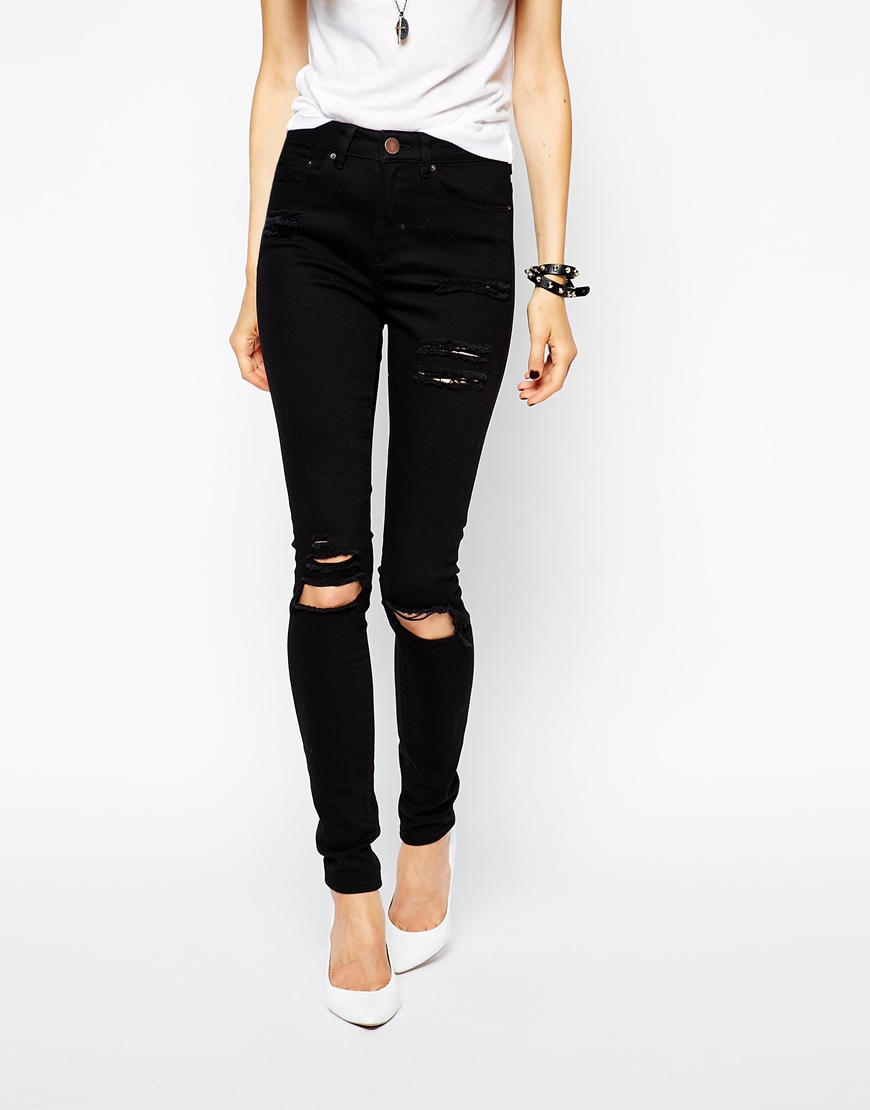 ASOS Ridley Skinny Jeans in Clean Black with Thigh Rips and Busted Knees at asos.com