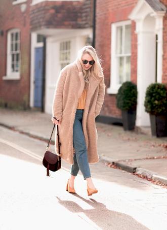coat tumblr camel camel coat teddy bear coat fuzzy coat denim jeans blue jeans sunglasses bag pumps oversized coat oversized