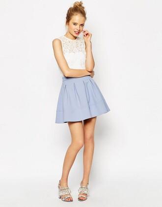 skirt light blue blue skirt mini skirt blue
