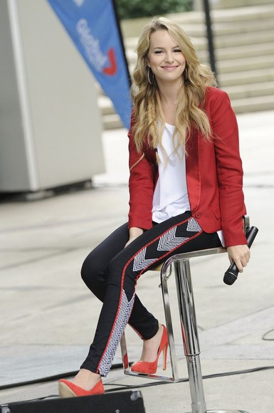 clothes pants leggings black bridgit mendler red skinny pants sequins high heels rock blonde salad blonde hair Disney Channel