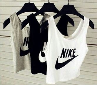 shirt nike grey black white singlet workout
