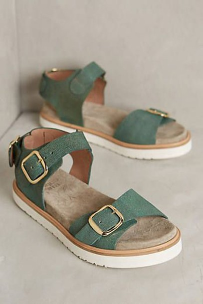 shoes sandals green double buckle platform shoes