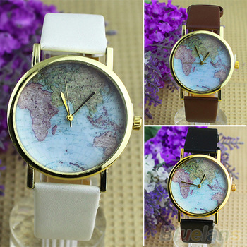 Hot sale christmas gifts retro world map watch fashion leather alloy women casual analog quartz wrist watch items 1o87
