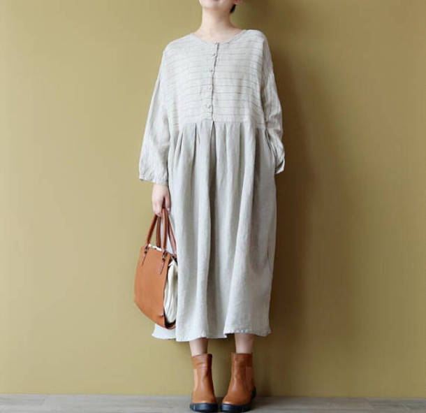dress linen color dress