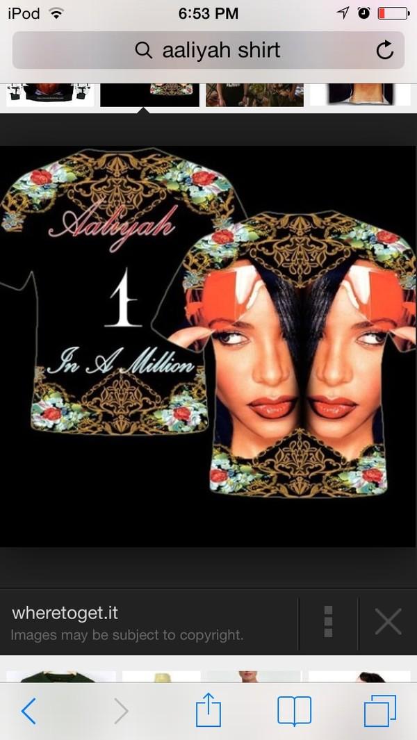 shirt roses aaliyah gold link