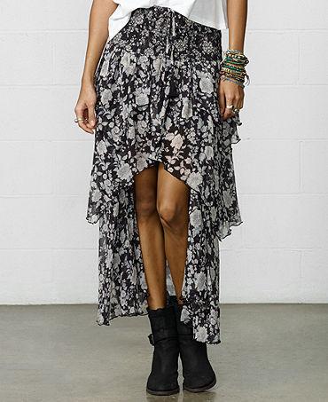 Denim & Supply Ralph Lauren Floral-Print High-Low Tiered Maxi Skirt - Women - Macy's