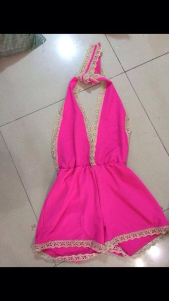 dress pink romper fashion luminous pink