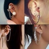 jewels,earrings,ear cuff,gold,silver,spikes,flowers
