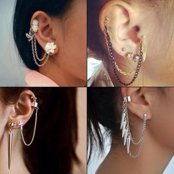 spikes gold jewels earrings ear cuff silver flowers