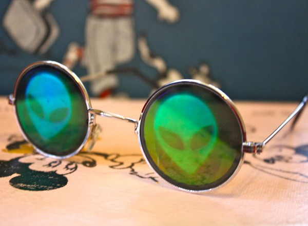 sunglasses alien holographic round sunglasses