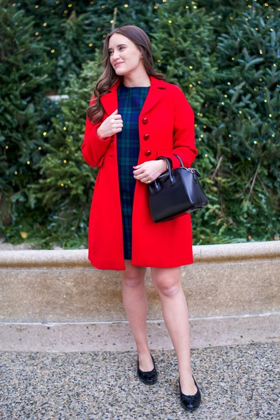 covering bases curvy blogger dress coat bag jewels blue dress handbag red coat winter outfits fall outfits