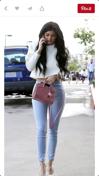 bag mauve klyie jenner faux leather shirt kylie jenner jeans blouse grey white blouse jacket white crop tops white heels long sleeve crop top bright blue jeans blue skinny jeans