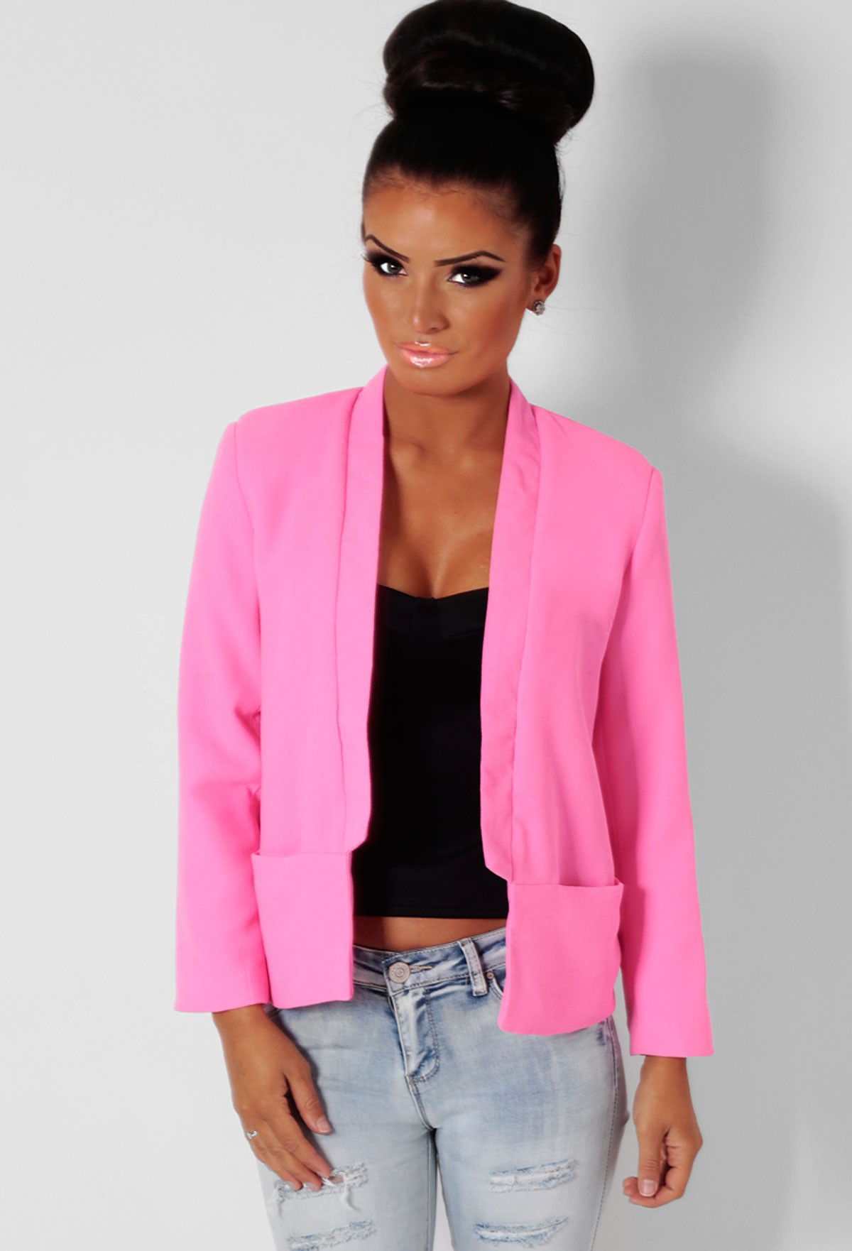 Breeze Pink 3/4 Sleeve Blazer Jacket | Pink Boutique