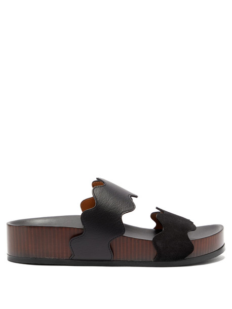 scalloped sandals leather sandals leather black shoes