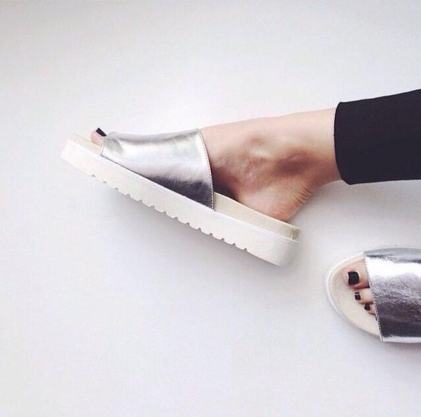 shoes silver sandals