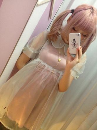 dress pale pastel transparent lolita nymphet kawaii gloves phone cover