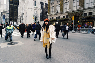 pale division blogger make-up winter outfits blanket scarf mustard faux fur jacket hat gloves coat scarf top pants shoes