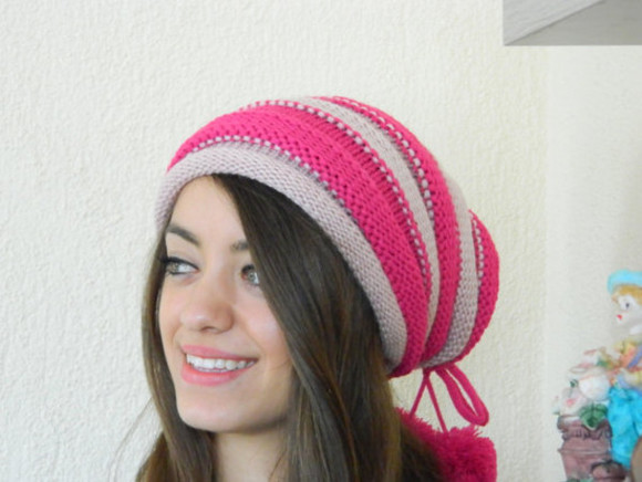 pink hat hat women hat striped hat knit hat knit hats winter hat slouchy hat bohemian bohemian style clothing accessories hair accessories women hats stripes