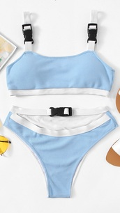 swimwear,girly,girly wishlist,blue,white,two-piece,swimwear two piece,bikini,bikini top,bikini bottoms,buckles