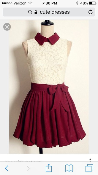 white lace top dress burgundy white lace collared dress