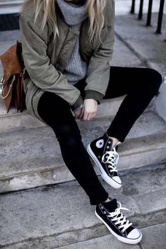 jacket tumblr outfit tumblr jeans black jeans fall outfits back to school sneakers high top sneakers black sneakers high top converse black converse converse sweater grey sweater army green jacket turtleneck turtleneck sweater bag brown bag