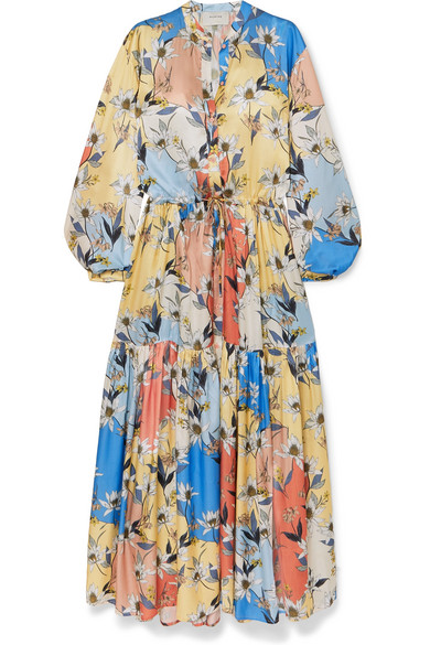 MUNTHE - Daisy floral-print satin maxi dress