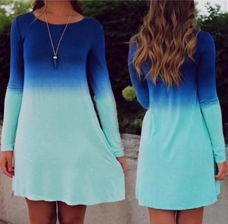 dress blue long sleeves multicolor ombre dress blue dress