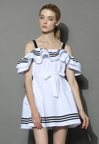 dress sweet mariner cold shoulder babydoll dress chicwish cold shoulder dress babydoll dress summer dress chicwish.com