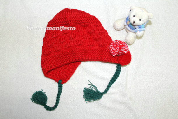 Christmas Hats For Kids.Baby Gril Hat Baby Flower Hat Flower Hat With Earflaps And Ties Flower Hat Red
