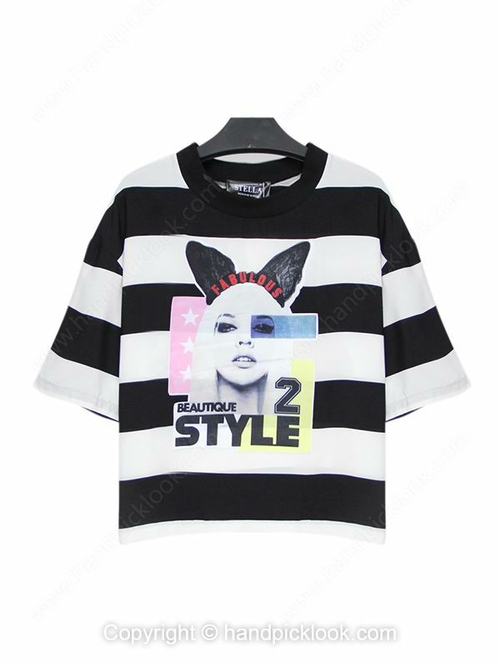 Black and White Round Neck Beauty & Letters Print Striped T-Shirt - HandpickLook.com