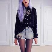 sweater,cross,shorts,jewels,underwear,jacket,pastel goth,black,ripped shorts,blouse,cross necklace,jewelry,goth,cute,nu goth