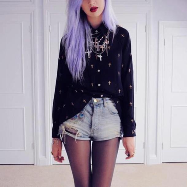 Sweater cross shorts jewels underwear jacket pastel goth black ripped shorts cross ...