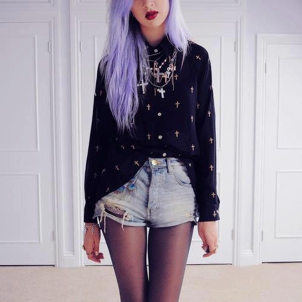 sweater cross shorts jewels underwear jacket pastel goth black ripped shorts blouse cross necklace jewelry goth cute goth nu goth