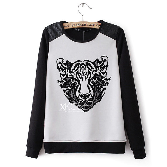 Jumper With Leopard PatternT1403 Casual Sweater Black Long Sleeves Knit Wear New Outerwear Misery Ju on Luulla